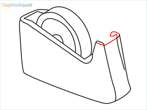 How to draw a Tape dispenser step (7)