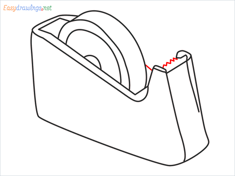 How to draw a Tape dispenser step (8)