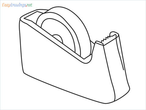 How to draw a Tape dispenser step by step for beginners