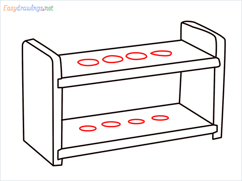 How to draw a Test tube rack step (7)