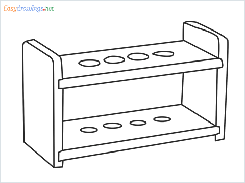 How to draw a Test tube rack step by step for beginners