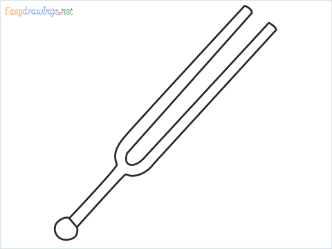 How to draw a Tuning fork step by step for beginners