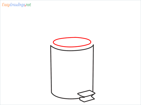 How to draw a Trash can step (4)