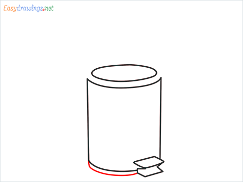 How to draw a Trash can step (5)