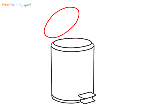 How to draw a Trash can step (6)