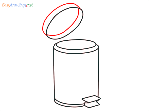 How to draw a Trash can step (7)