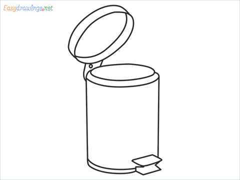 How to draw a Trash can step by step for beginners