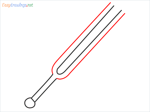 How to draw a Tuning fork step (4)