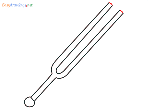 How to draw a Tuning fork step (5)