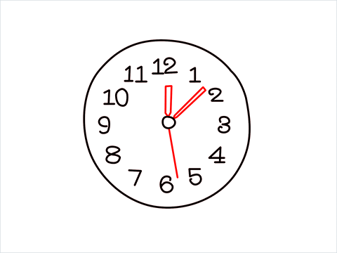 How to draw a Wall clock step (5)