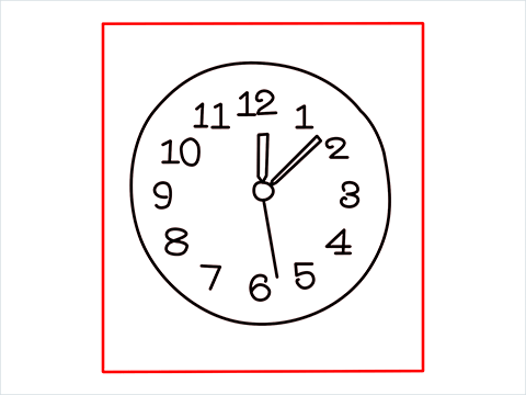 How to draw a Wall clock step (6)
