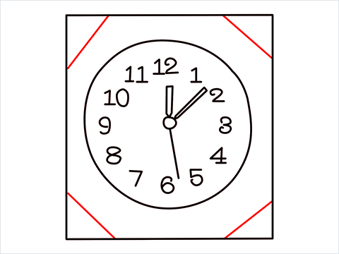 How to draw a Wall clock step (7)
