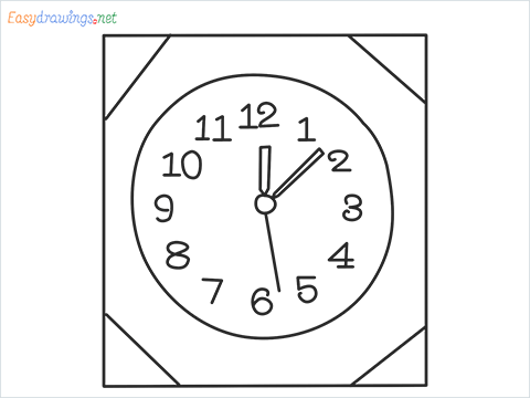 How to draw a Wall clock step by step for beginners