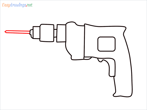 How to draw an Electric drill step (7)