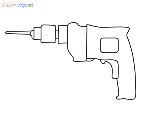 How to draw an Electric drill step by step for beginners