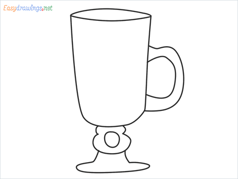How to draw an Irish coffee glass step by step for beginners
