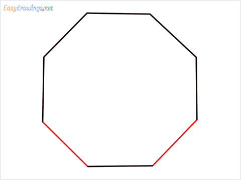 How to draw an Octagon shape step (4)