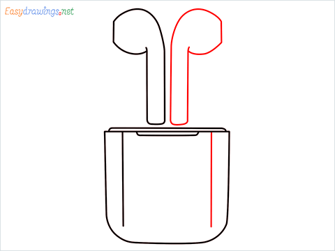 How to draw Apple Airpods step (5)