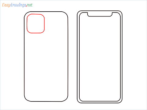 How to draw Apple Iphone step (4)