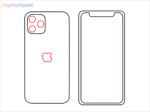 How to draw Apple Iphone step (5)