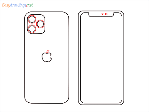 How to draw Apple Iphone step (6)