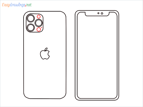 How to draw Apple Iphone step (7)