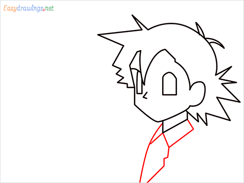 How to draw Ash and Pikachu step (4)