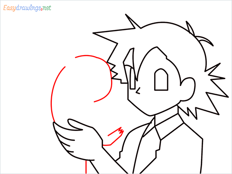 How to draw Ash and Pikachu step (7)