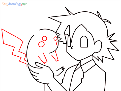 How to draw Ash and Pikachu step (8)