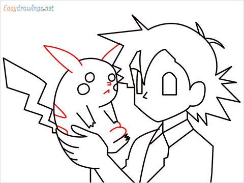 How to draw Ash and Pikachu step (9)
