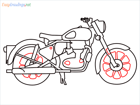 How to draw Bullet bike step (10)