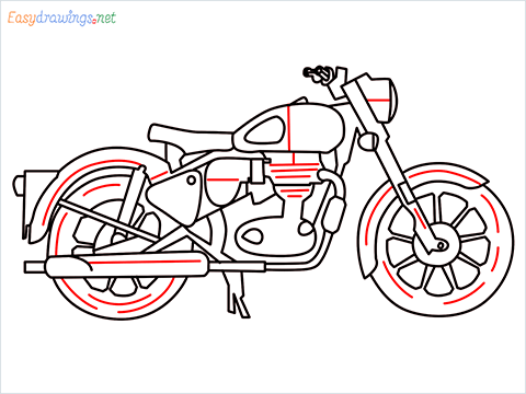 How to draw Bullet bike step (11)