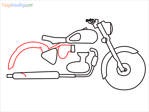 How to draw Bullet bike step (7)