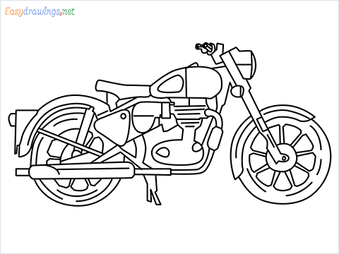 How to draw Bullet bike step by step for beginners