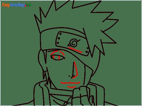 How to draw Kakashi hair step (11)
