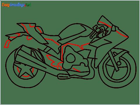 How to draw Kawasaki Ninja H2 step (10)