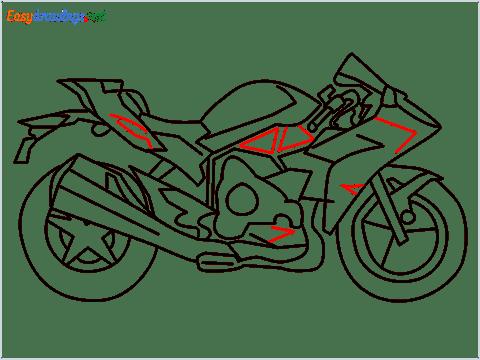 How to draw Kawasaki Ninja H2 step (11)