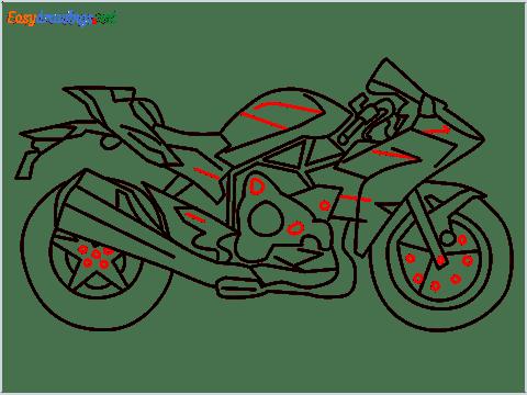 How to draw Kawasaki Ninja H2 step (12)