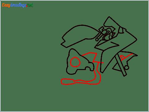 How to draw Kawasaki Ninja H2 step (5)