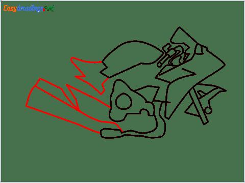 How to draw Kawasaki Ninja H2 step (6)