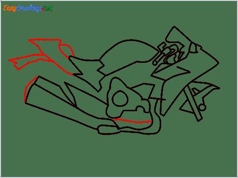 How to draw Kawasaki Ninja H2 step (7)