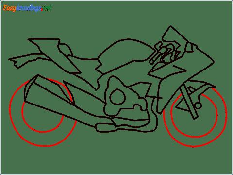 How to draw Kawasaki Ninja H2 step (8)