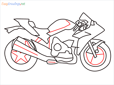 How to draw Kawasaki Ninja H2 step (9)
