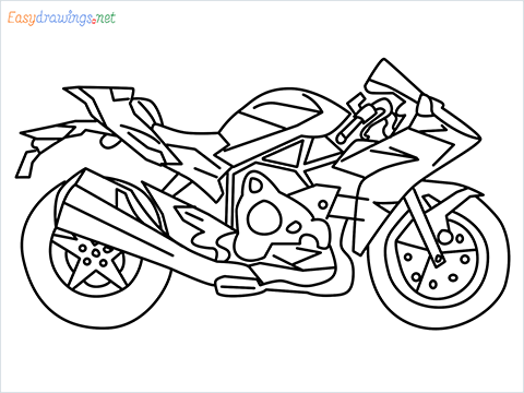 How to draw Kawasaki Ninja H2 step by step for beginners