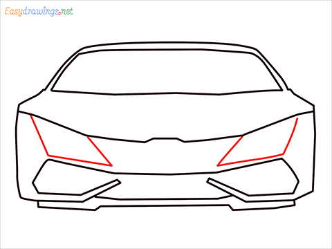 How to draw Lamborghini Huracan step (7)