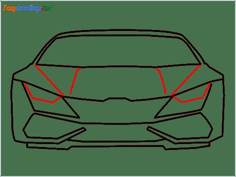 How to draw Lamborghini Huracan step (8)