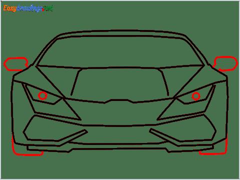 How to draw Lamborghini Huracan step (9)