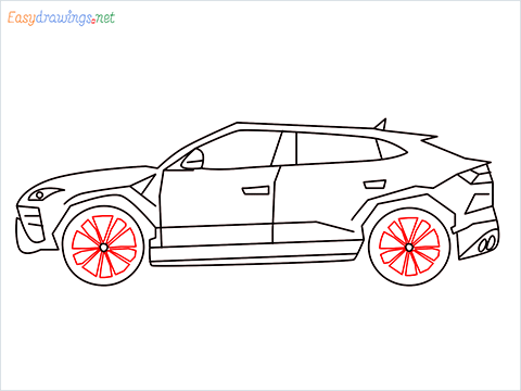 How to draw Lamborghini Urus step (10)