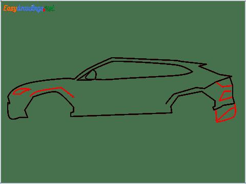 How to draw Lamborghini Urus step (5)