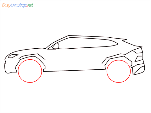 How to draw Lamborghini Urus step (6)